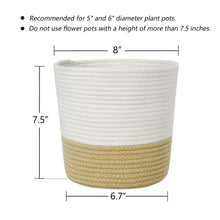 Load image into Gallery viewer, Cotton Rope Plant Basket Yellow and White Basket Size