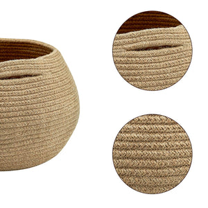 Cute Round Jute Rope Woven Plant Basket Size