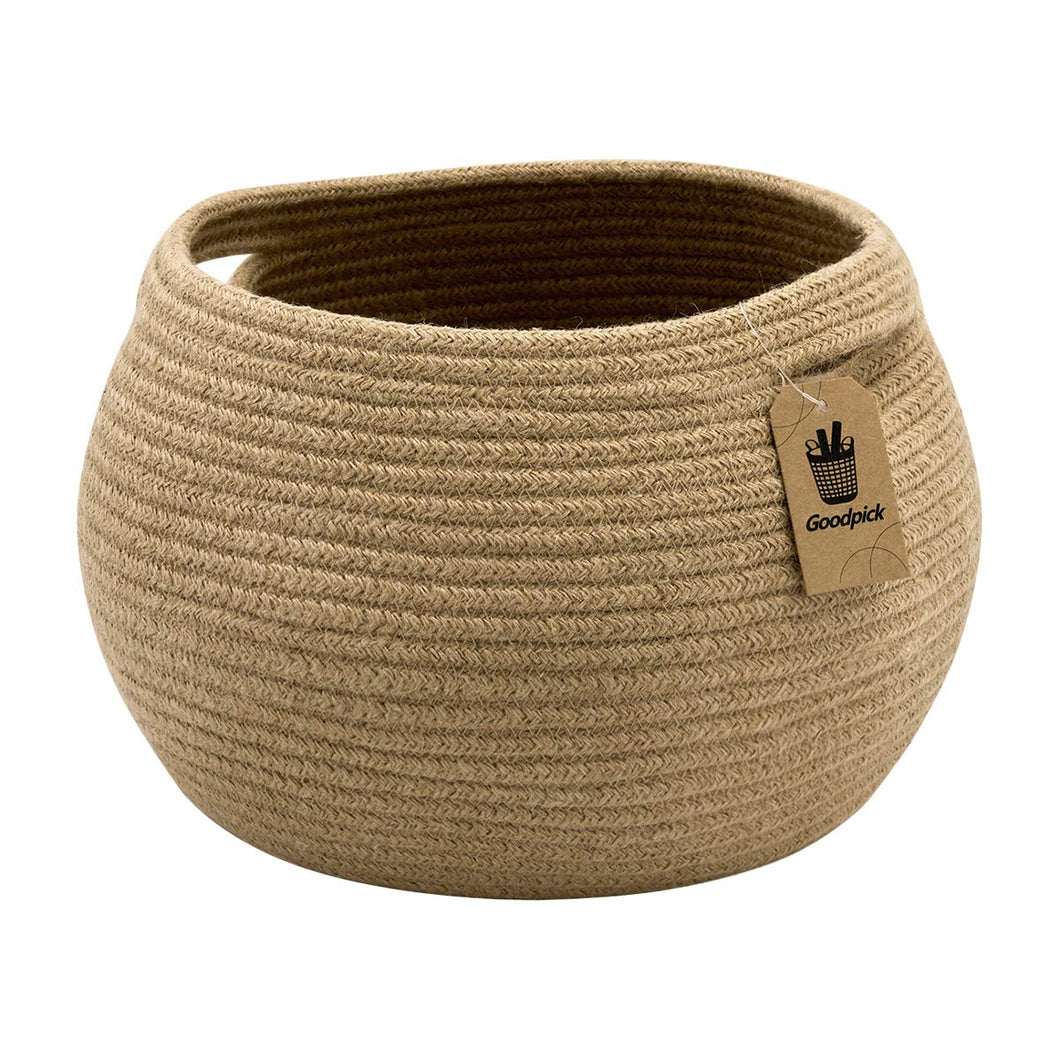 Cute Round Jute Rope Woven Plant Basket