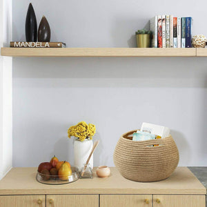 Cute Round Jute Rope Woven Plant Basket table storage