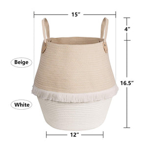 Cute Woven Clothes Hamper For Baby Plush Stuffed Animals Toys Storage Basket with Long Handles large size