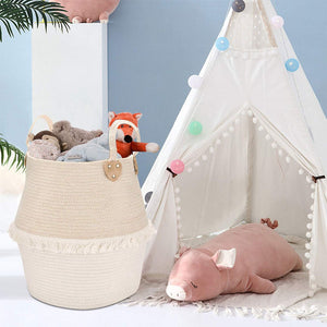 Cute Woven Clothes Hamper For Baby Plush Stuffed Animals Toys Storage Basket with Long Handles living room storage
