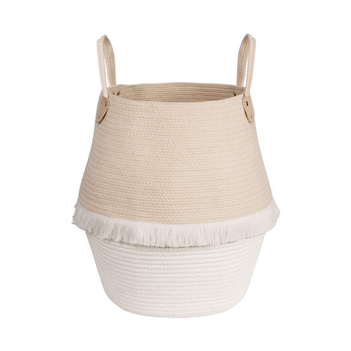 Cute Woven Clothes Hamper For Baby Plush Stuffed Animals Toys Storage Basket with Long Handles
