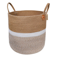 "Load image into Gallery viewer, Jute Natural Laundry Basket Toy Towels Blanket Basket 16"" x 16"""