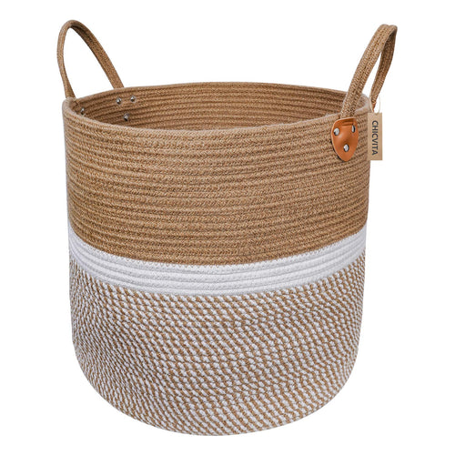 Jute Natural Laundry Basket Toy Towels Blanket Basket 16