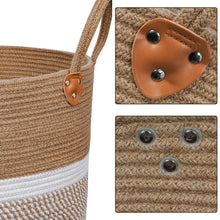 "Load image into Gallery viewer, Jute Natural Laundry Basket Toy Towels Blanket Basket 16"" x 16"" Details"