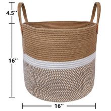 "Load image into Gallery viewer, Jute Natural Laundry Basket Toy Towels Blanket Basket 16"" x 16"" Size"