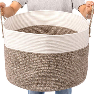 Timeyard Extra Large Rope Storage baskets Round Woven Hamper Basket for Toy Organizer how big it is