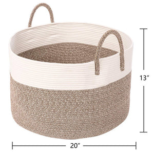 Timeyard Extra Large Rope Storage baskets Round Woven Hamper Basket for Toy Organizer super size