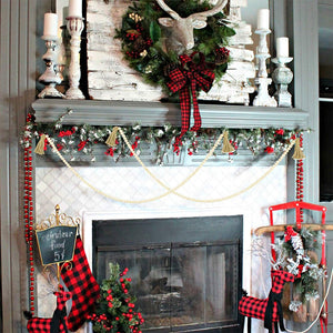 Farmhouse Living Room Decor Wooden Christmas Bead Garland Set of 2 fireplace decoration