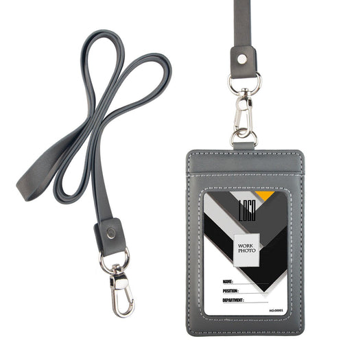 2-Sided Vertical Genuine Leather ID Badge Holder with Lanyard