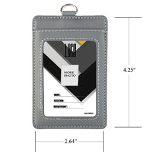 Load image into Gallery viewer, 2-Sided Vertical Genuine Leather ID Badge Holder with Lanyard