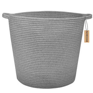 Grey Laundry Basket Cotton Rope Basket Hamper for Blanket 16.0 x 15.0 x 12.6 in