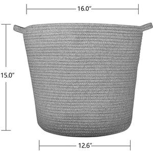 Grey Laundry Basket Cotton Rope Basket Hamper for Blanket 16.0 x 15.0 x 12.6 in Size