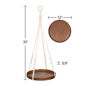 Hanging Plant Holders With Brown Wooden Shelf Size