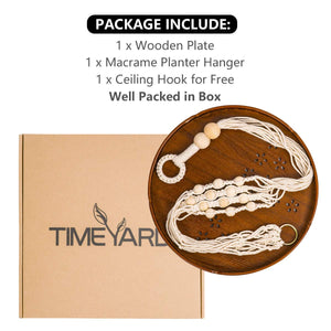 Hanging Plant Holders With Brown Wooden Shelf Package
