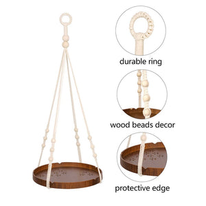 Hanging Plant Holders With Brown Wooden Shelf Details