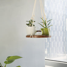 Load image into Gallery viewer, Hanging Plant Holders With Brown Wooden Shelf For Bedroom