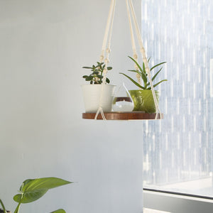 Hanging Plant Holders With Brown Wooden Shelf For Bedroom