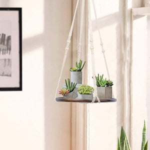 Hanging Plant Shelf Bohemian Home Decor Brwon Shelf For Bedroom