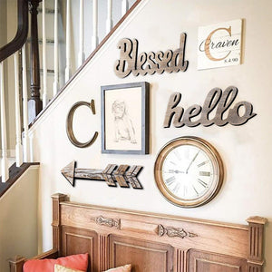 Hello Wood Sign Cut Letters Rustic Farmhouse Wall Hanging Gallery Decor bedroom decoration