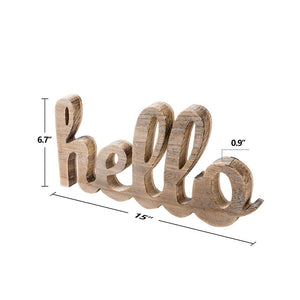 Hello Wood Sign Cut Letters Rustic Farmhouse Wall Hanging Gallery Decor product size