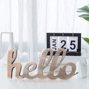Hello Wood Sign Cut Letters Rustic Farmhouse Wall Hanging Gallery Decor table