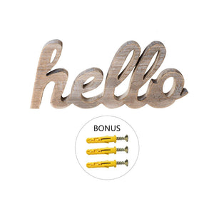 Hello Wood Sign Cut Letters Rustic Farmhouse Wall Hanging Gallery Decor with three screws