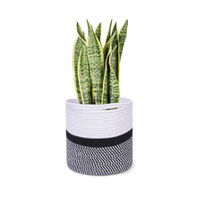"Load image into Gallery viewer, Cotton Rope Plant Basket Floor Indoor Planters 11"" x 11"" Gray and White Stripe"