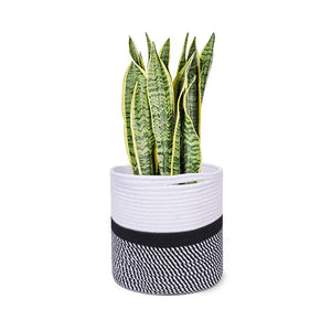 "Cotton Rope Plant Basket Floor Indoor Planters 11"" x 11"" Gray and White Stripe"