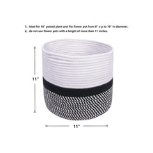 "Load image into Gallery viewer, Cotton Rope Plant Basket Floor Indoor Planters 11"" x 11"" Gray and White Stripe timeyard"