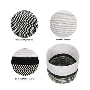 "Cotton Rope Plant Basket Floor Indoor Planters 11"" x 11"" Gray and White Stripe well made craftsmanship"