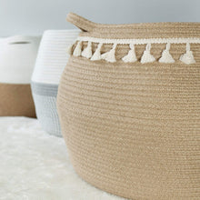 Load image into Gallery viewer, Jute Cotton Rope Belly Basket with Tassel