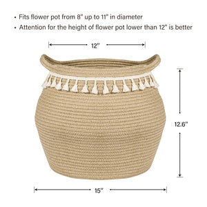 Jute Cotton Rope Belly Basket with Tassel