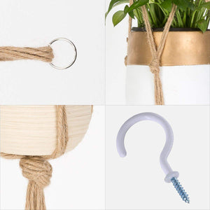 6 Pcs Jute Handmade Wall Hanging Planter Indoor Outdoor Details