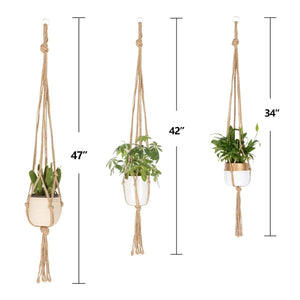 6 Pcs Jute Handmade Wall Hanging Planter Indoor Outdoor Size