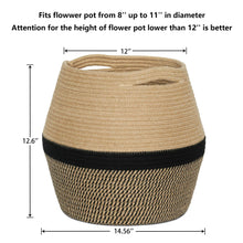 "Load image into Gallery viewer, Jute Rope Plant Basket 12"" x 12"" Size"