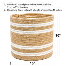 "Load image into Gallery viewer, Jute woven plant basket 10"" x 10"" Storage Organizer Basket Size"