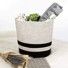 Load image into Gallery viewer, Extra Large Cotton Rope Black Basket with Handles Storage Containers for Baby Laundry Hamper XL