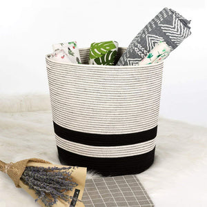 Extra Large Cotton Rope Black Basket with Handles Storage Containers for Baby Laundry Hamper XL