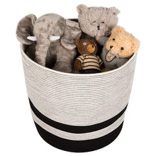 Load image into Gallery viewer, Extra Large Cotton Rope Black Basket with Handles Storage Containers for Baby Laundry Hamper Toy Storage