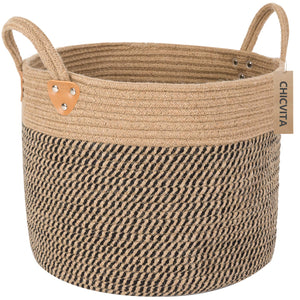 "Large Jute Basket Woven Storage Basket with Handles 14"" x 14"" x 12"""