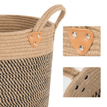 "Load image into Gallery viewer, Large Jute Basket Woven Storage Basket with Handles 14"" x 14"" x 12"" Details"