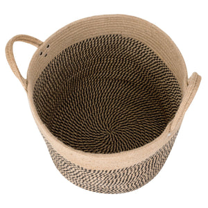 "Large Jute Basket Woven Storage Basket with Handles 14"" x 14"" x 12"" Bottom"