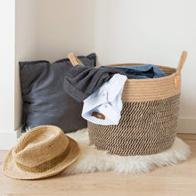 "Load image into Gallery viewer, Large Jute Basket Woven Storage Basket with Handles 14"" x 14"" x 12"" For Bedroom"