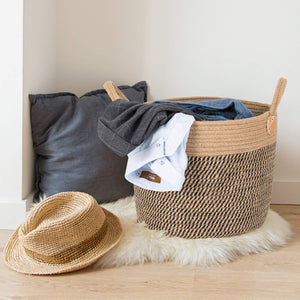 "Large Jute Basket Woven Storage Basket with Handles 14"" x 14"" x 12"" For Bedroom"