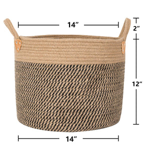 "Large Jute Basket Woven Storage Basket with Handles 14"" x 14"" x 12"" Size"