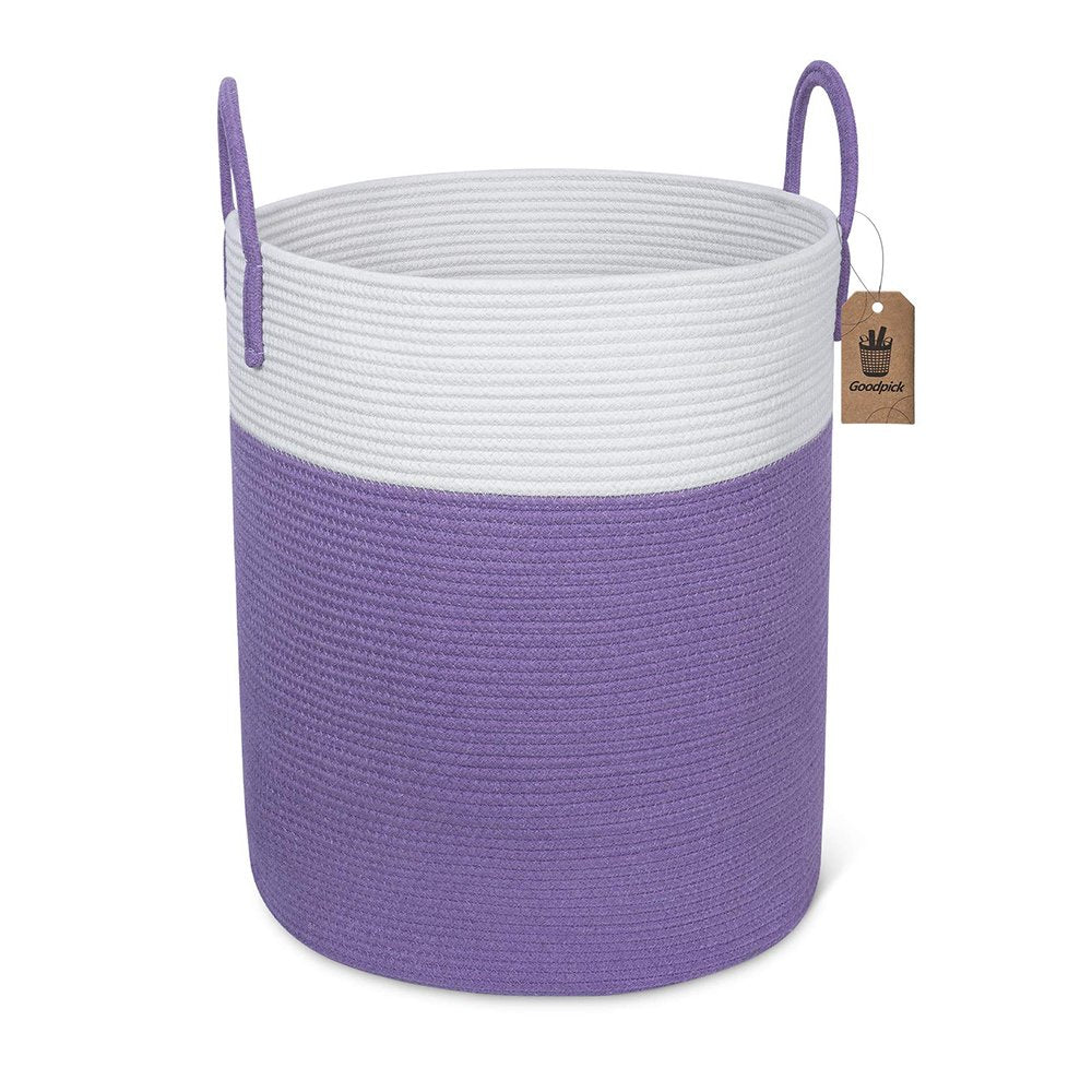Large Purple Laundry Hamper with Handles Woven Cotton Rope Blanket Basket for Bedroom 15.8''D x 19.6