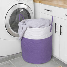 "Load image into Gallery viewer, Large Purple Laundry Hamper with Handles Woven Cotton Rope Blanket Basket for Bedroom 15.8''D x 19.6""H"