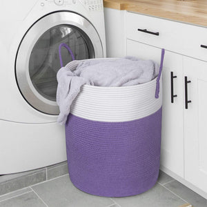"Large Purple Laundry Hamper with Handles Woven Cotton Rope Blanket Basket for Bedroom 15.8''D x 19.6""H"